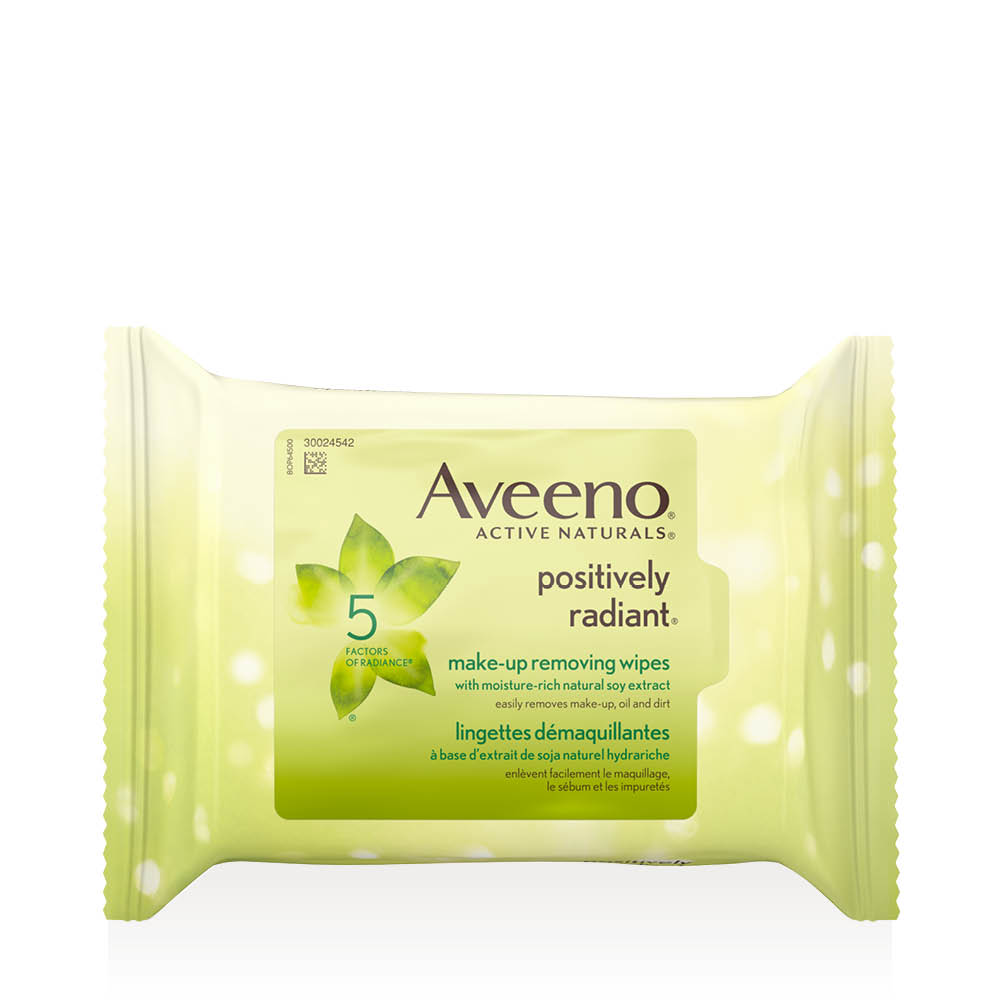 Emballage des lingettes démaquillantes Aveeno positively radiant