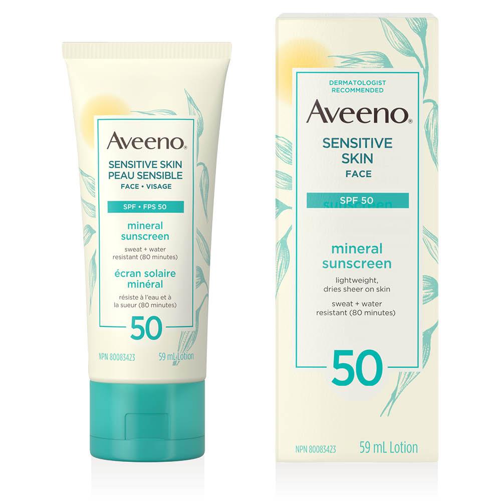 Tube et boîte de l'écran solaire pour le visage Aveeno peau sensible fps 50