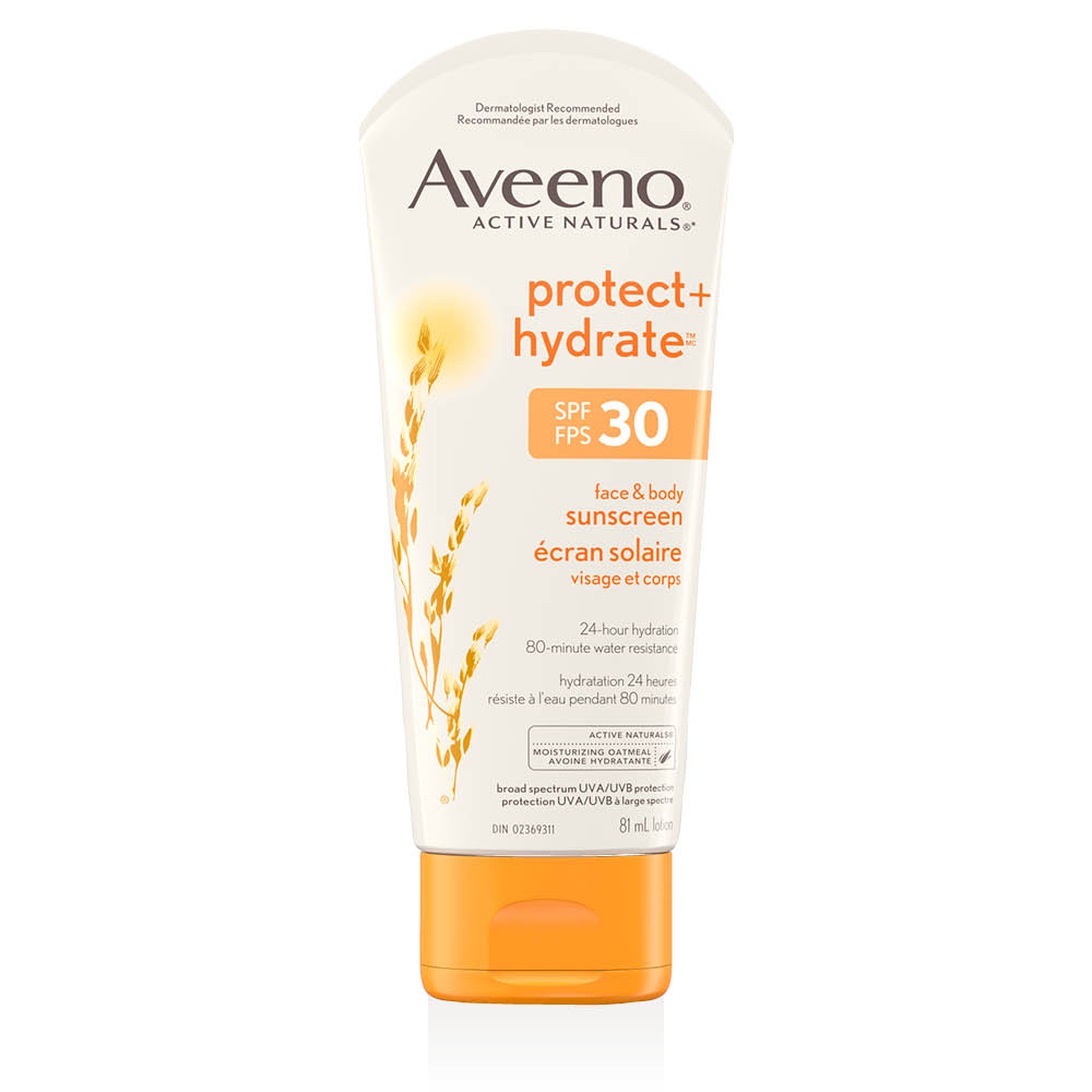 Tube de la lotion solaire Aveeno protect and hydrate fps 30