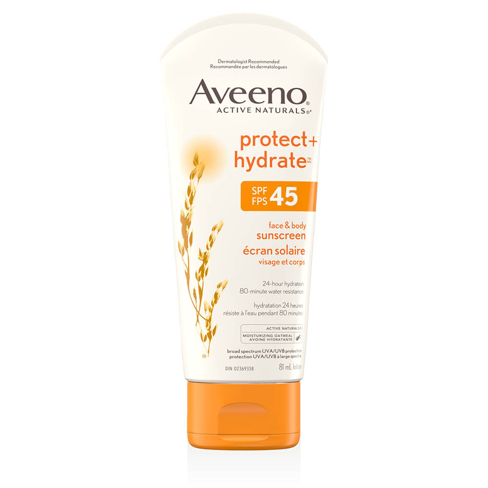 Tube de la lotion solaire Aveeno protect and hydrate fps 45