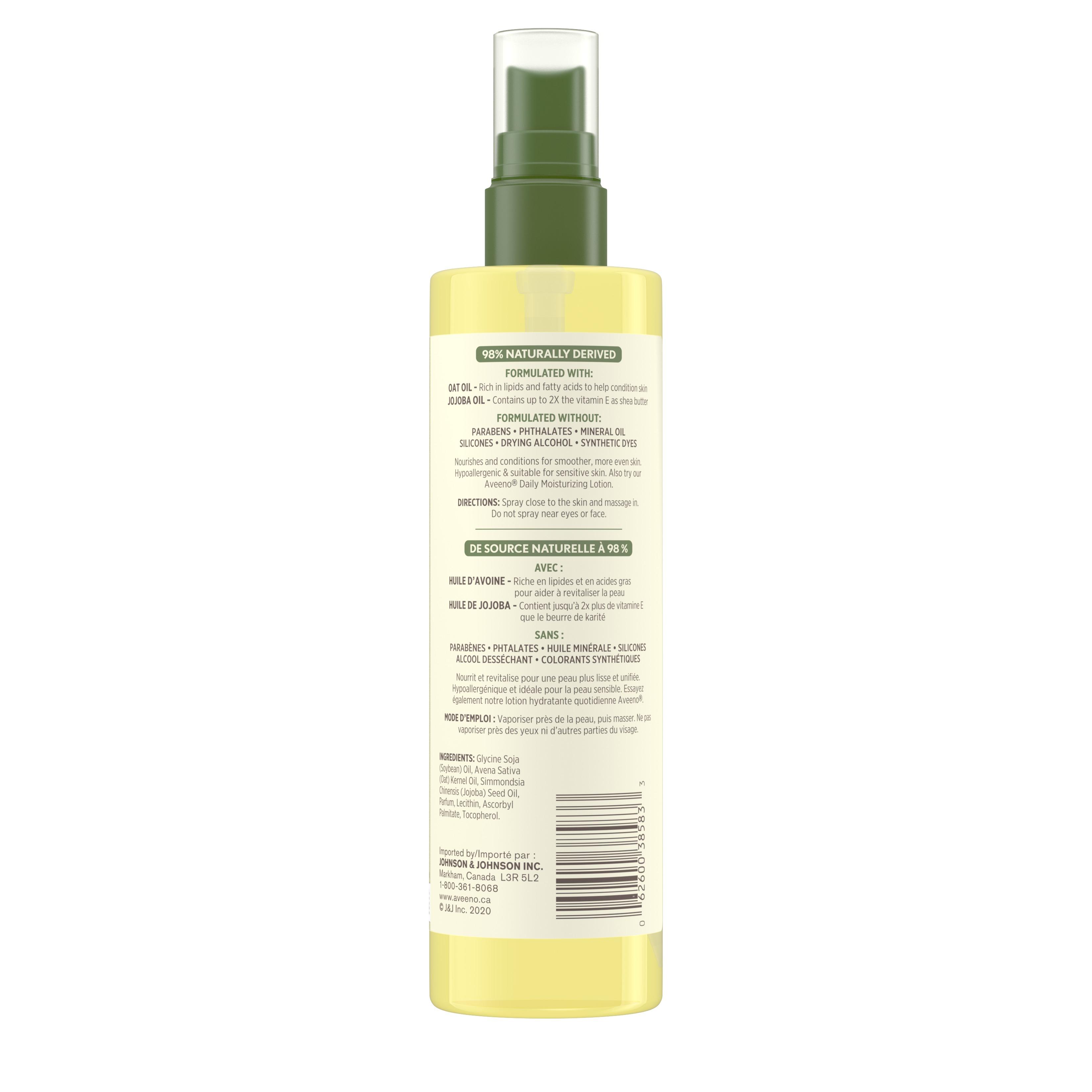 Arrière du flacon de brume à base d'huile Aveeno Soin hydratant quotidien avec liste des ingrédients, 200 ml