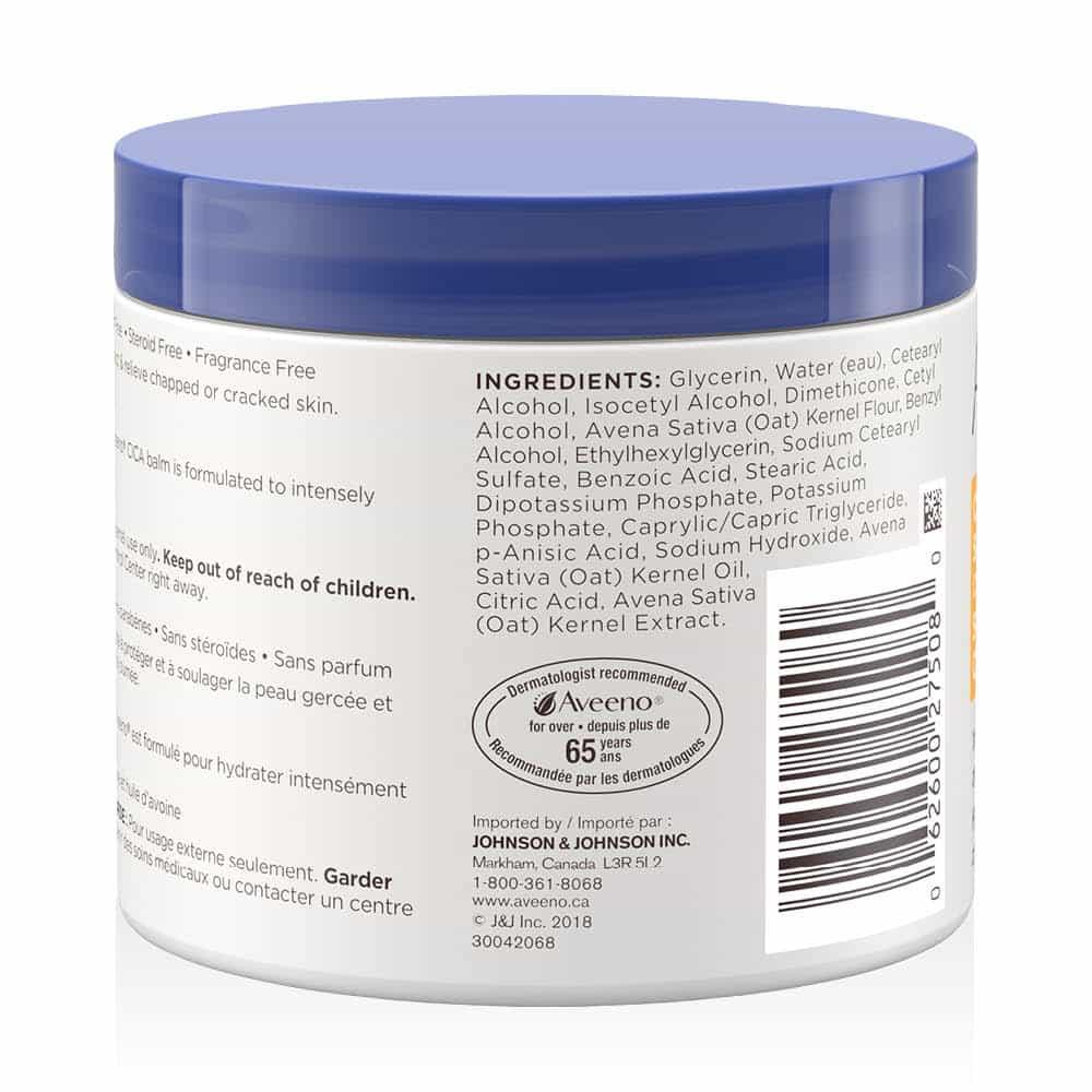 arrière du pot (ingrédients) du baume CICA aveeno soin de la peau craquelée