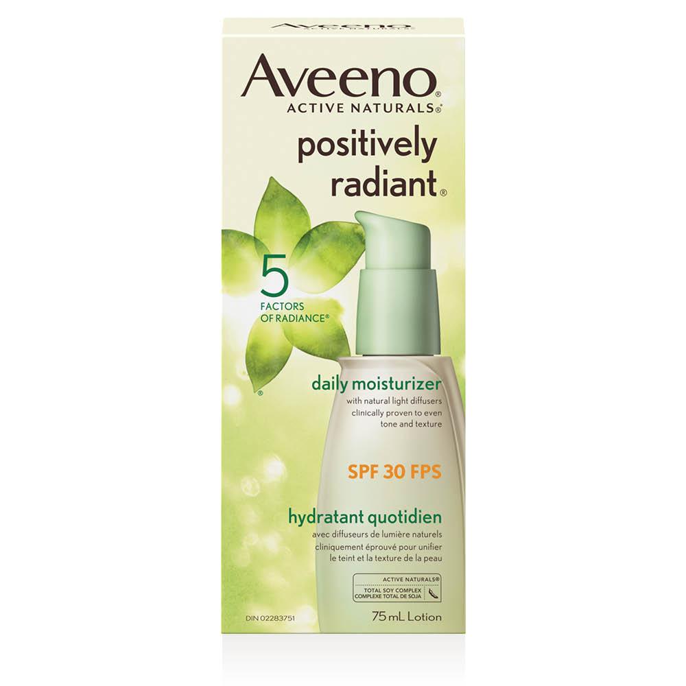 boîte de l'hydratant pour le visage avec fps 30 aveeno positively radiant