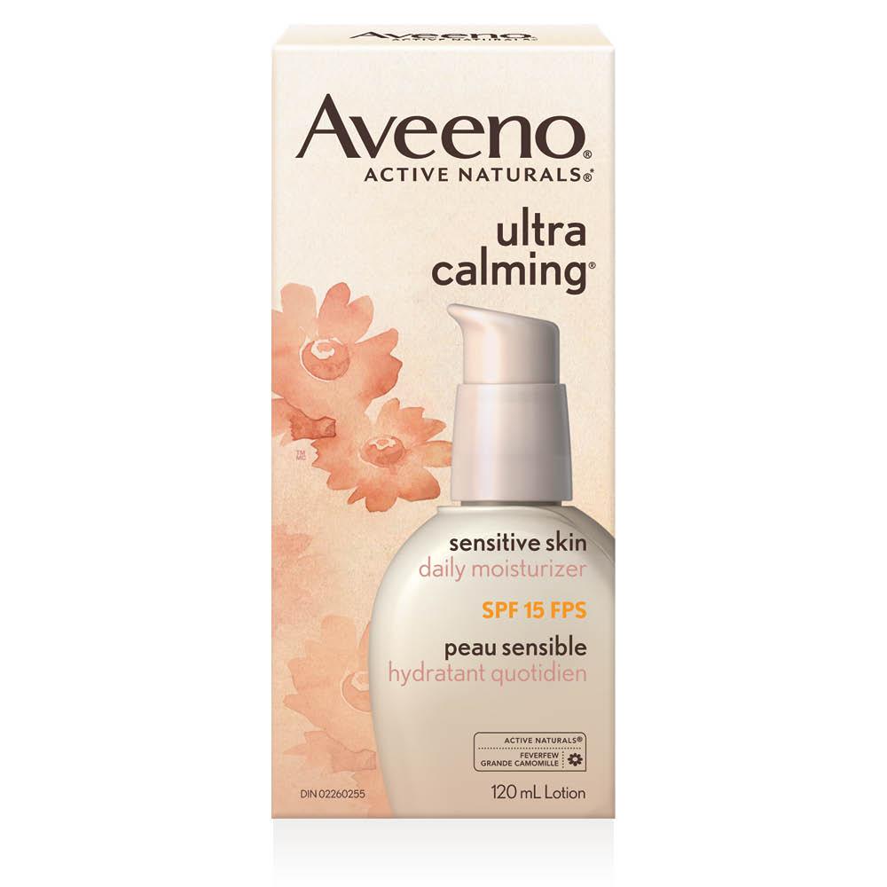 boîte de l'hydratant quotidien pour le visage avec fps 15 aveeno ultra calming