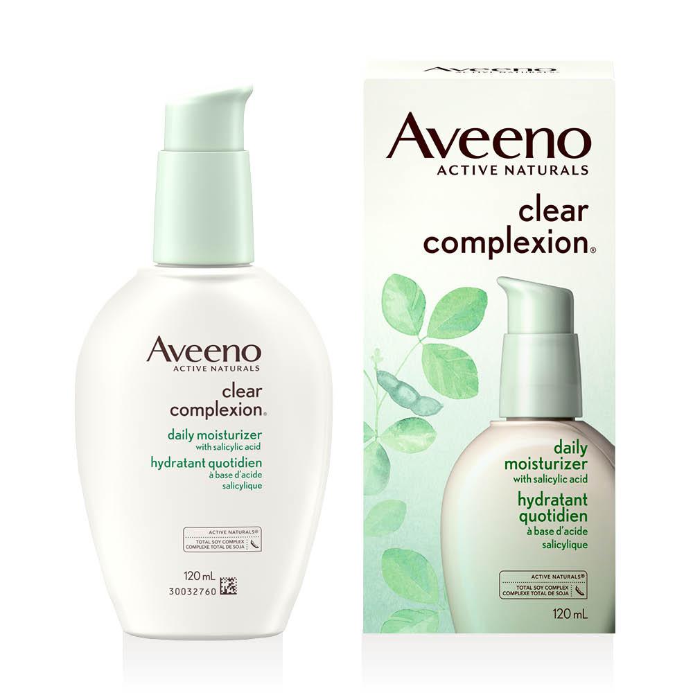 flacon-pompe et boîte de l'hydratant pour le visage aveeno clear complexion