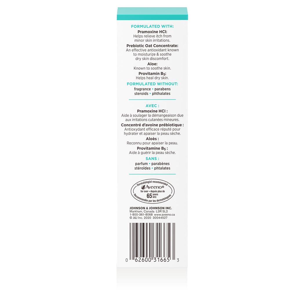 Côté du du tube de 113 g du baume antidémangeaison AVEENO® Restorative Skin Therapy