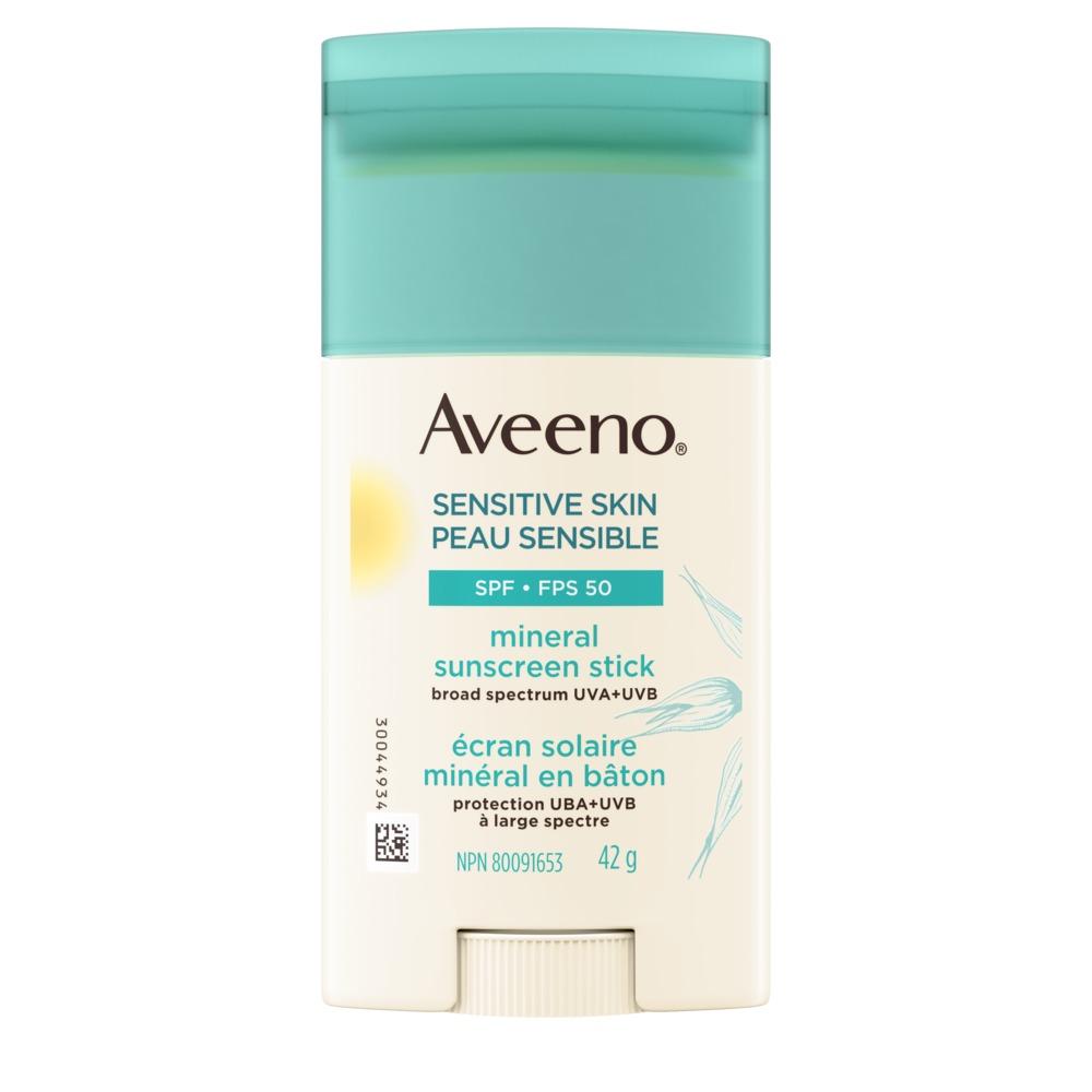 Écran solaire minéral Aveeno en bâton FPS 50 pour peau sensible