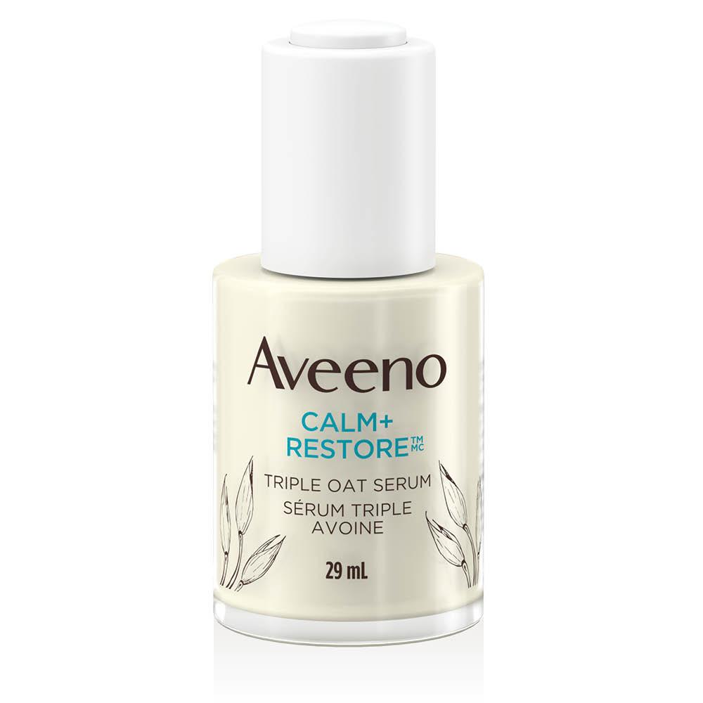 Flacon du sérum triple avoine pour peau sensible AVEENO® Calm+RestoreMC, 29 ml