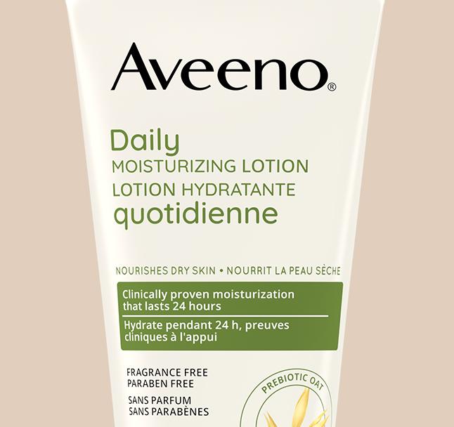 étiquette de la lotion hydratante quotidienne pour le corps aveeno