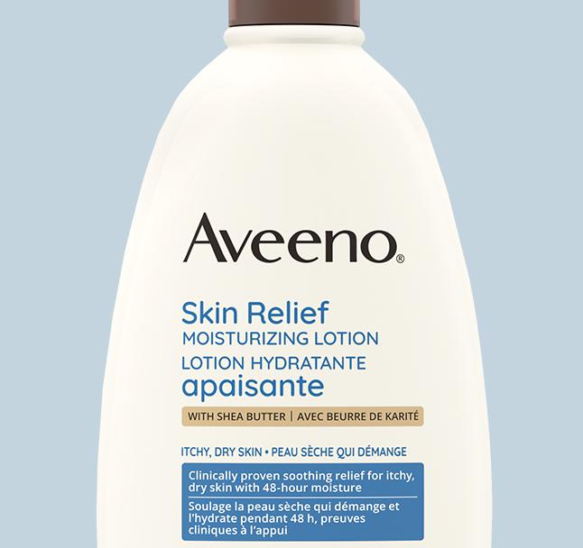 étiquette de la lotion hydratante apaisante pour le corps aveeno
