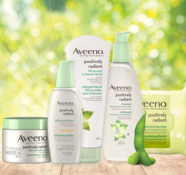 aveeno positvely radiant face products line up