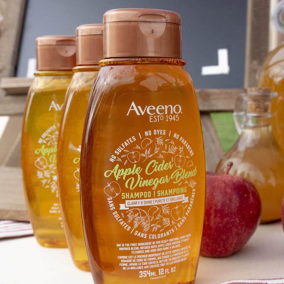 gamme des produits capillaires aveeno au vinaigre de cidre de pomme