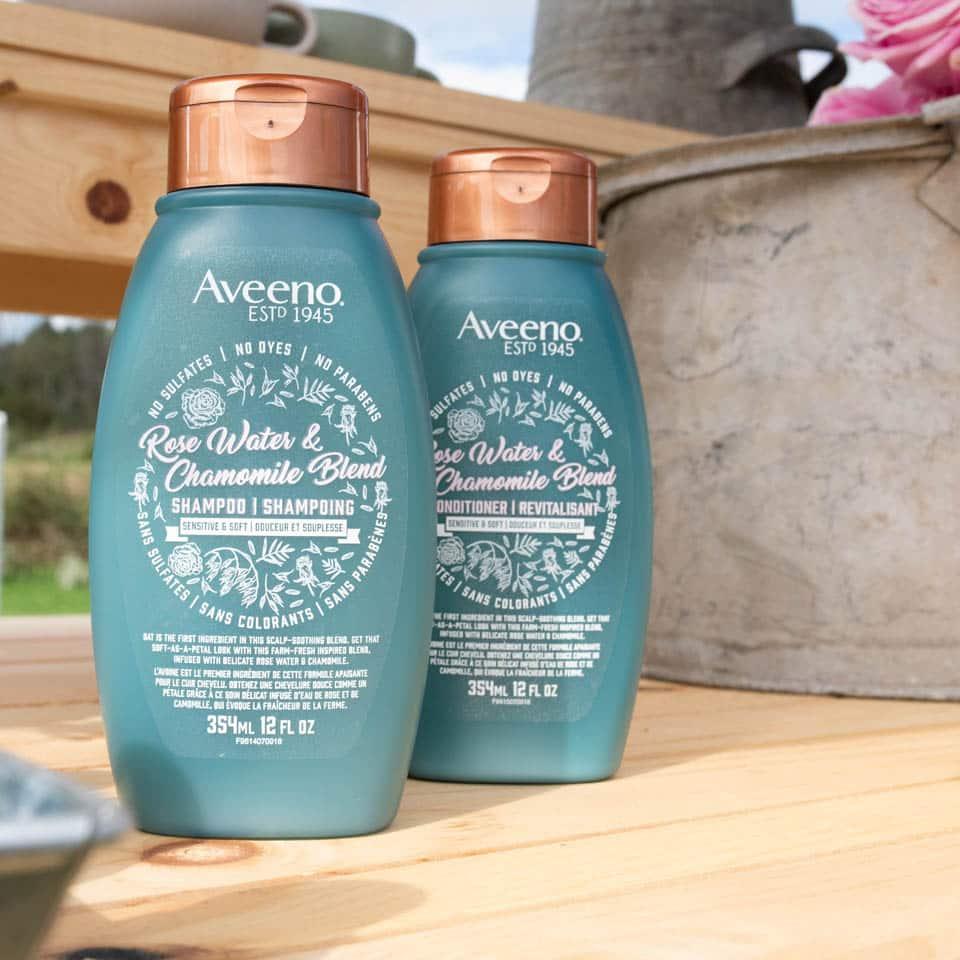 deux flacons du shampoing et du revitalisant aveeno à l'eau de rose et la camomille