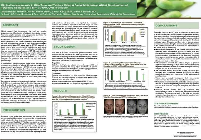 Améliorations cliniques du teint et de la texture de la peau, à l'aide d'un hydratant facial à base d'un complexe total de soja