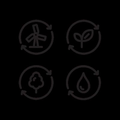 Icônes d'énergie réutilisable, d'ingrédients cultivés de façon durable et de qualité de l'eau