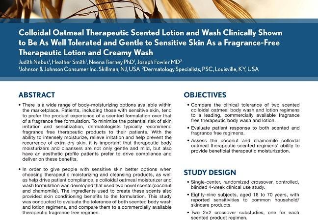 La lotion et le nettoyant parfumés sont aussi doux que des produits non parfumés, preuves cliniques à l'appui