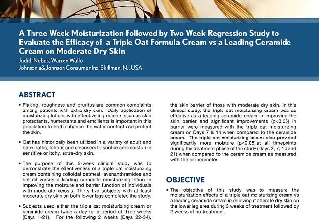 Comparaison de l'efficacité d'une crème à formule triple avoine et d'une crème populaire à base de céramides dans les cas de sécheresse cutanée d'intensité modérée